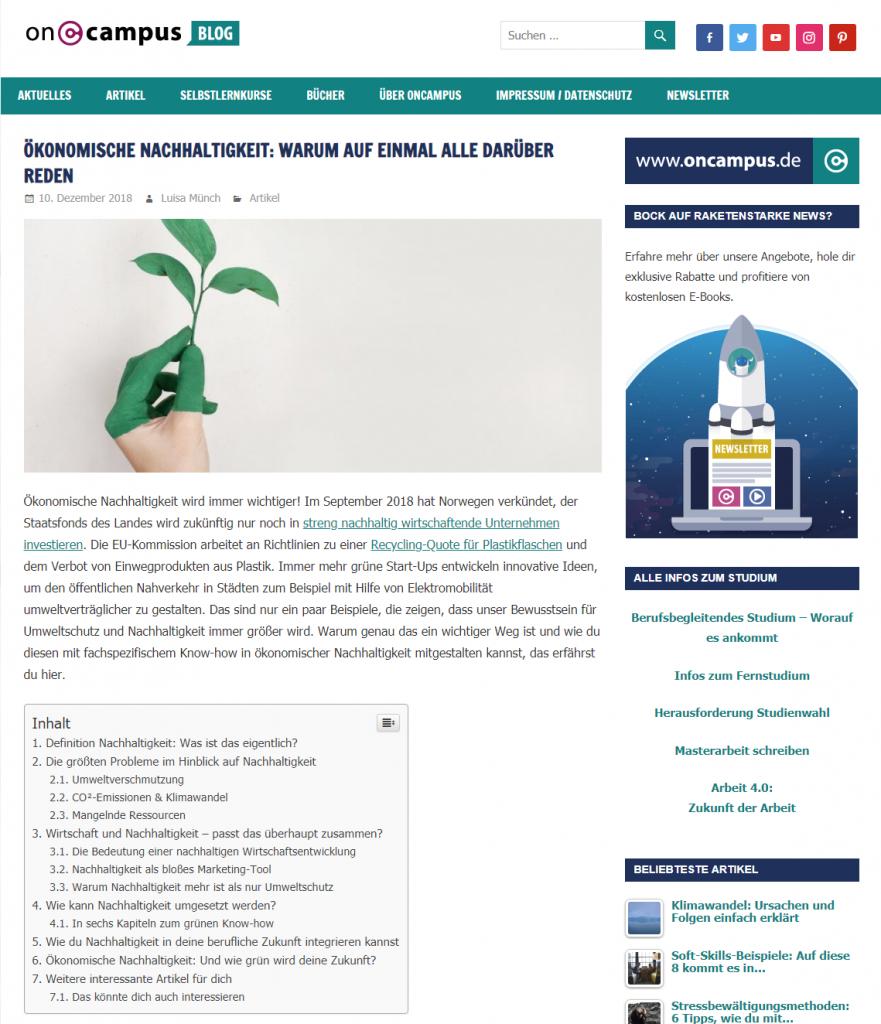 Screenshot oncampus-Blogartikel zu Nachhaltigkeit