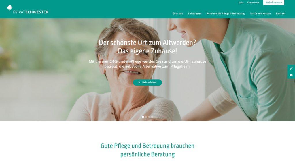 Screenshot von Privatschwester-Website
