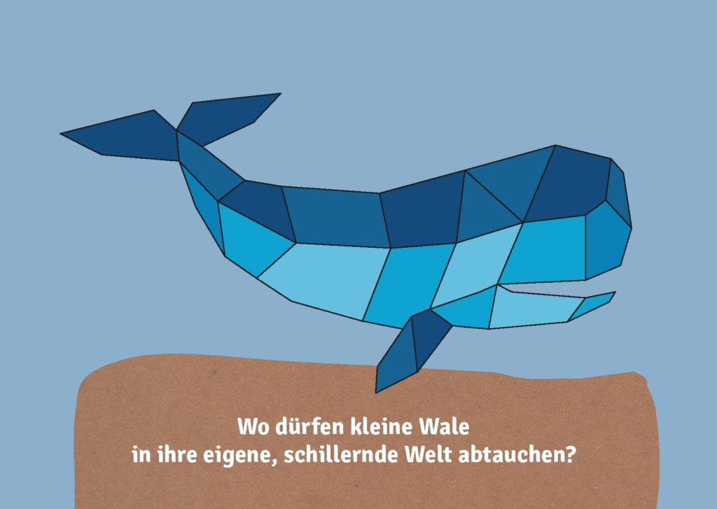Postkarte mit Wal